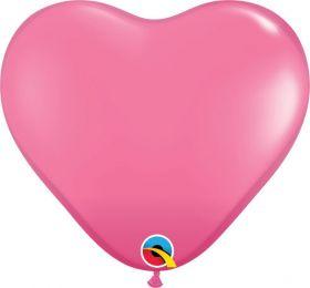 11 inch Qualatex Rose Heart Shape Latex Balloons - 100 count