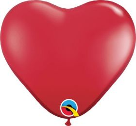 6 inch Qualatex Ruby Red Heart Shape Latex Balloons - 100 count