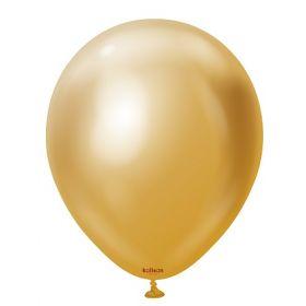12 inch Kalisan Gold Mirror Chrome Latex Balloons - 100 ct