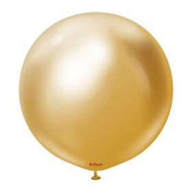 18 inch Kalisan Gold Mirror Chrome Latex Balloons - 10 ct