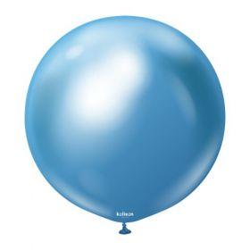 18 inch Kalisan Blue Mirror Chrome Latex Balloons - 10 ct