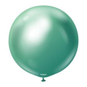 36 inch Kalisan Green Mirror Chrome Latex Balloons - 2 ct