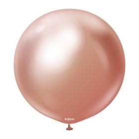 18 inch Kalisan Rose Gold Mirror Chrome Latex Balloons - 10 ct