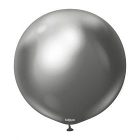24 inch Kalisan Space Gray Mirror Chrome Latex Balloons - 2 ct