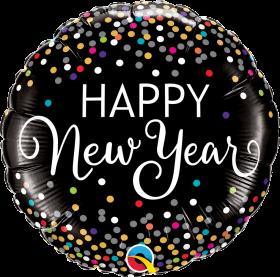 Qualatex 18 inch Foil Mylar Happy New Year Confetti Round Balloon