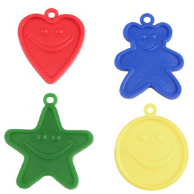 8 Gram Primary Assorted Happy Balloon Weight - 100 count