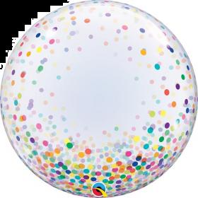 24 inch Qualatex Colorful Confetti Dots Deco Bubble Balloon