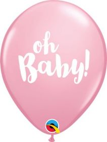 11 inch Qualatex Oh Baby Pink Latex Balloons- 50 count