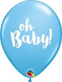 11 inch Qualatex Oh Baby Pale Blue Latex Balloons- 50 count