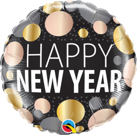 18 inch Qualatex New Year Metallic Dots Foil Balloon - Packaged