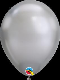 7 inch Qualatex Chrome Silver Latex Balloons - 100 count