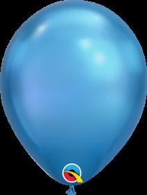 7 inch Qualatex Chrome Blue Latex Balloons - 100 count