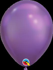 7 inch Qualatex Chrome Purple Latex Balloons - 100 count