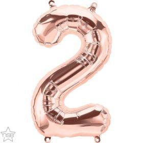 16 inch Rose Gold Number 2 Foil Mylar Balloon