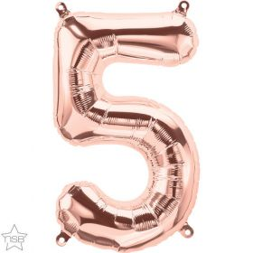 16 inch Rose Gold Number 5 Foil Mylar Balloon