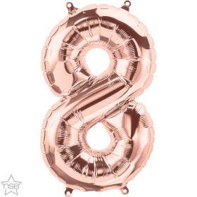 16 inch Rose Gold Number 8 Foil Mylar Balloon