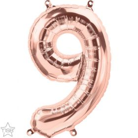 16 inch Rose Gold Number 9 Foil Mylar Balloon
