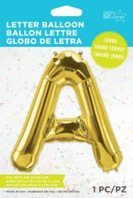 34 inch Northstar Gold Letter A Foil Mylar Balloon