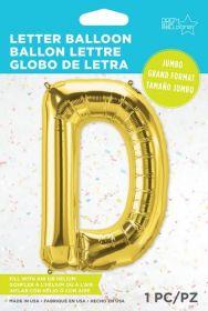 34 inch Northstar Gold Letter D Foil Mylar Balloon