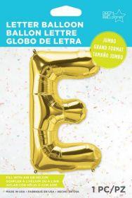 34 inch Northstar Gold Letter E Foil Mylar Balloon