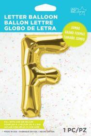 34 inch Northstar Gold Letter F Foil Mylar Balloon
