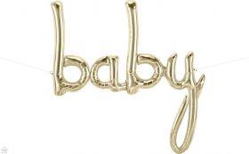 42 inch Baby White Gold Script Foil Letter Balloon