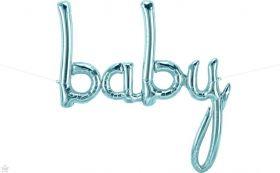 46 inch Baby Pastel Blue Script Foil Letter Balloon