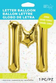 34 inch Northstar Gold Letter M Foil Mylar Balloon