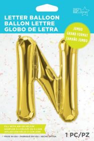 34 inch Northstar Gold Letter N Foil Mylar Balloon