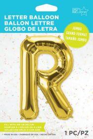 34 inch Northstar Gold Letter R Foil Mylar Balloon