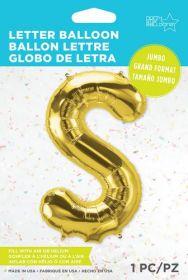34 inch Northstar Gold Letter S Foil Mylar Balloon