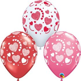 11 inch Qualatex Valentine's Etched Hearts-A-Round Latex Balloons- 50 count