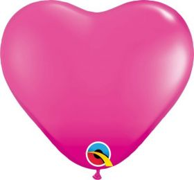 11 inch Qualatex Wild Berry Heart Shape Latex Balloons - 100 count
