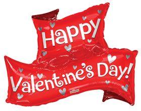 36 inch Happy Valentine's Day Banner Shape Foil Heart Balloon - Pkg