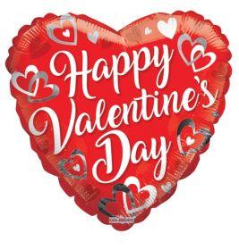 18 inch Kaleidoscope Happy Valentine's Day White Script Foil Heart Balloon - flat