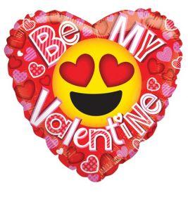 18 inch Kaleidoscope Be My Valentine Smiley Love Emoticon Gellibean Heart Balloon - flat
