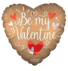 18 inch Be My Valentine Matte Heart Foil Balloon - flat