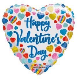 18 inch Kaledioscope Happy Valentine's Day Multicolor Hearts Foil Heart Balloon - flat