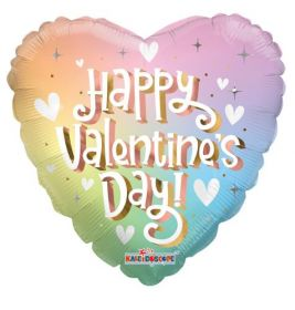 18 inch Happy Valentines Day Soft Rainbow Foil Balloon - flat