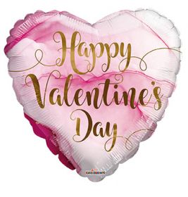 18 inch Happy Valentines Day Pink Marble Foil Balloon - flat
