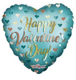 18 inch Happy Valentine's Day Gold & Mint Matte Foil Heart Balloon - flat