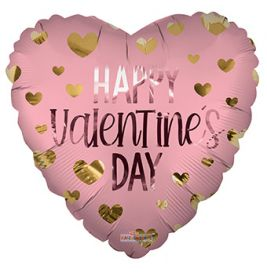 18 inch Happy Valentines Day Hearts Matte Foil Balloon - flat
