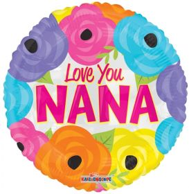 18 inch Love You Nana Bright Flowers Foil Mylar Circle Balloon