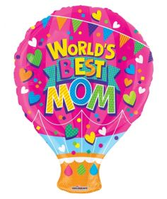 18 inch Worlds Best Mom Gellibean Hot Air Balloon Shape Balloon