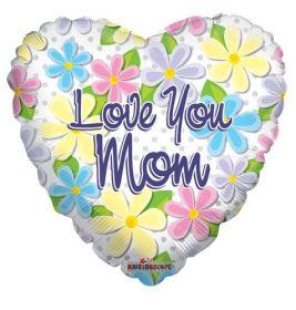 18 inch Love You Mom Flowers & Dots Foil Mylar Heart Balloon
