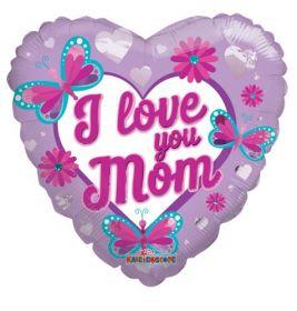 18 inch I Love You Mom Butterflies & Flowers Foil Heart Balloon - flat