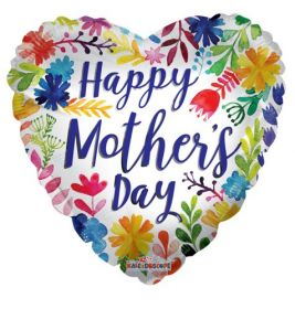 18 inch Kaleidoscope Happy Mother's Day Painted Flowers Foil Balloon - Pkg