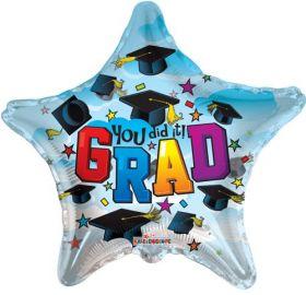 18 inch Kaleidoscope You Did It Grad Clearview Star Shape Foil Balloon - Flat
