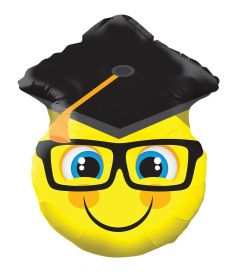 18 inch Smiley Face with Grad Cap Shape Foil Balloon
