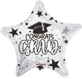 18 inch Congrats GRAD Star Foil Balloon - White